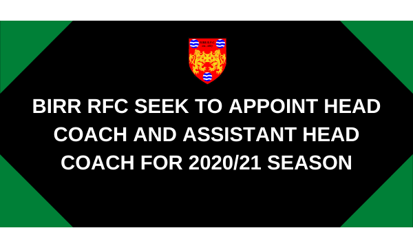 Birr RFC Seeking Head Coach and Assistant Head Coach for 2020-21 season