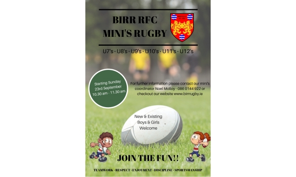 Mini's Rugby Starting on Sun 23rd Sept