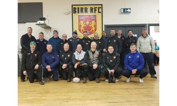 Leinster's Peter Dooley and Michael Milne visit Birr RFC Mini's
