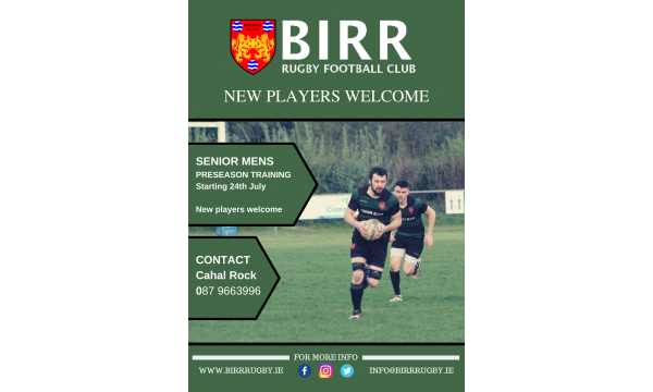 Senior Mens Preseason Training starting from July 24th