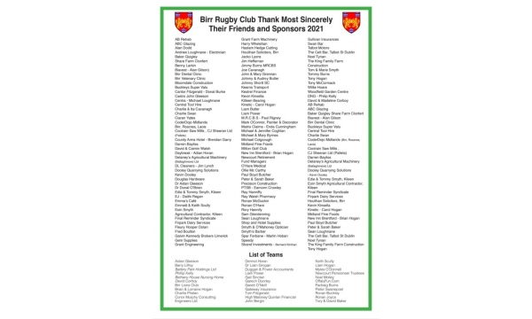 Birr RFC Golf Classic  - Thank You For Your Support